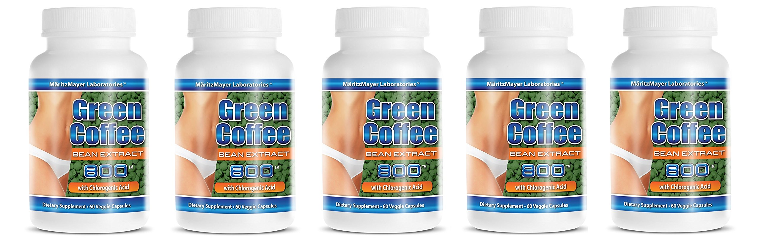 Pure Green Coffee Extract 800 mg Diet Weight Loss Pill 60 Capsules Per Bottle (5 Bottles)