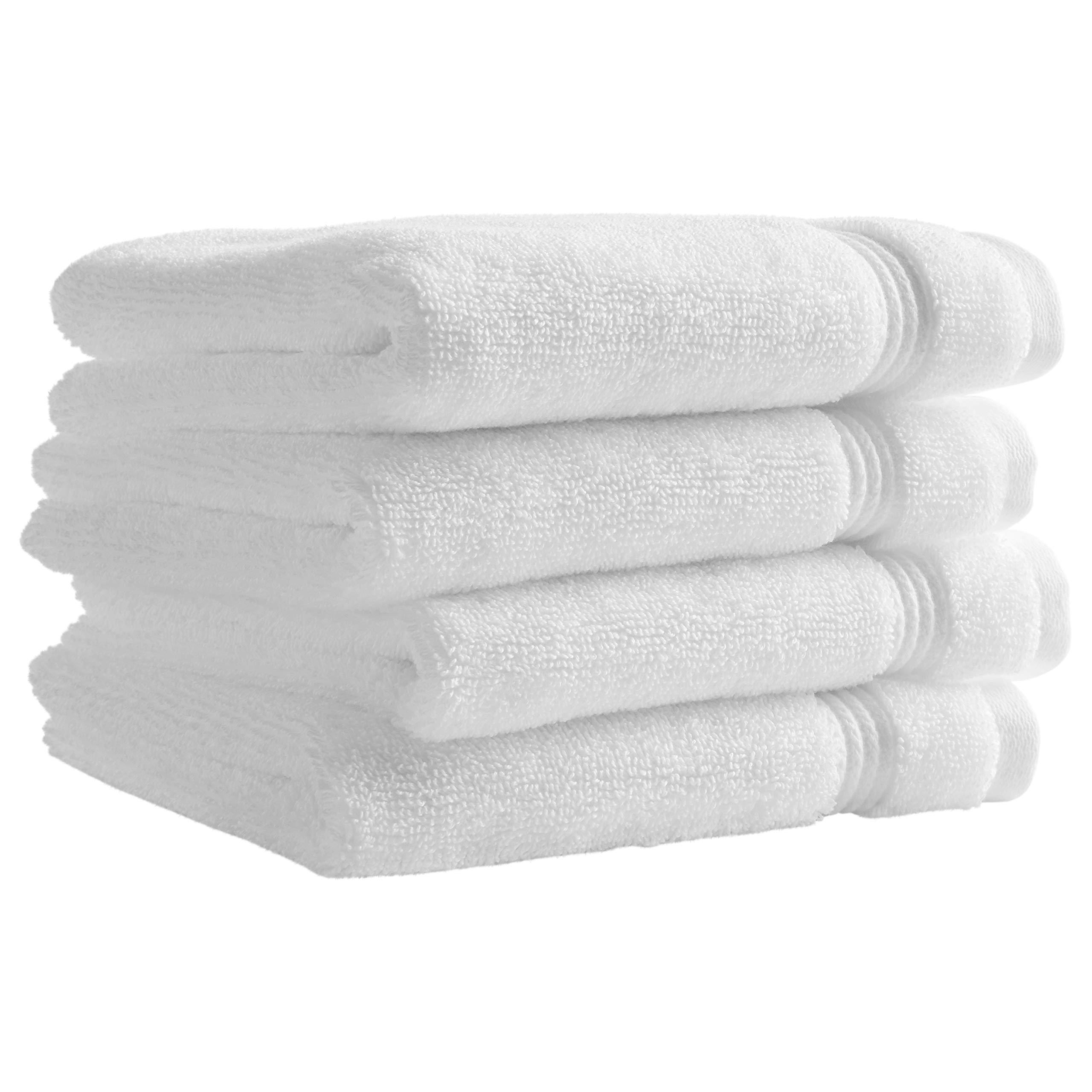 Rivet Classic Supima Cotton Washcloth Set, 4-Pack, Bright White