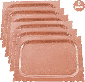 "6 Disposable Rose Gold Serving Trays - 9.5"" x 13.5"" Serving Tray Set - Food Safe Heavy Duty Cardboard Serving Platters - 6-Pack Decorative Party Trays - Paper Food Tray for Parties & Everyday Use"