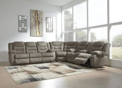 Wienburg Contemporary Cobblestone Color Fabric Reclining Sectional Sofa
