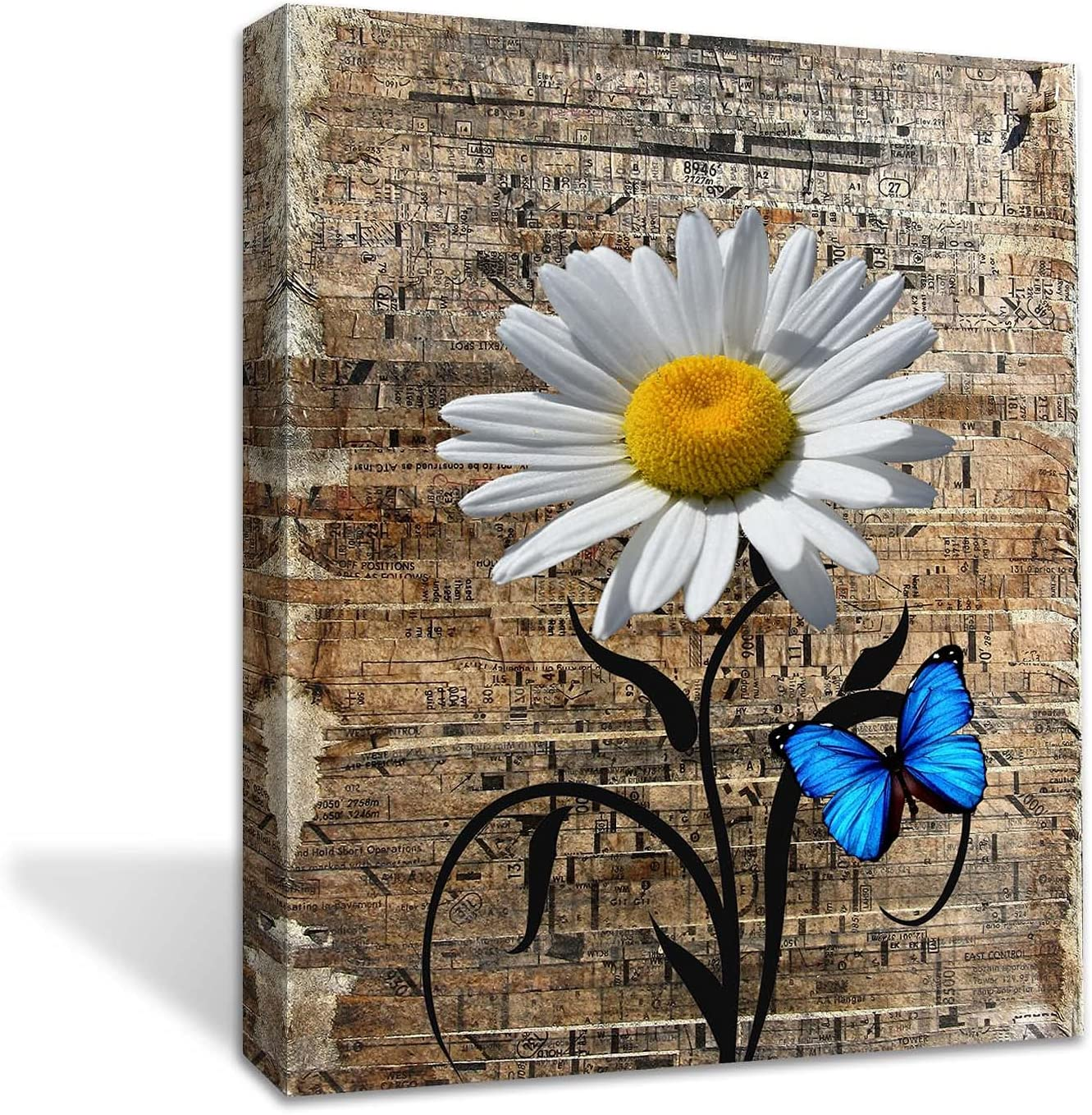 Yellow Daisy Flower Butterfly Wall art on The Wood Wall Decor- Living Room Bathroom Bedroom Office Wall Decor Home -Ready to Hang (Yellow Daisy flower, 12x16inch)