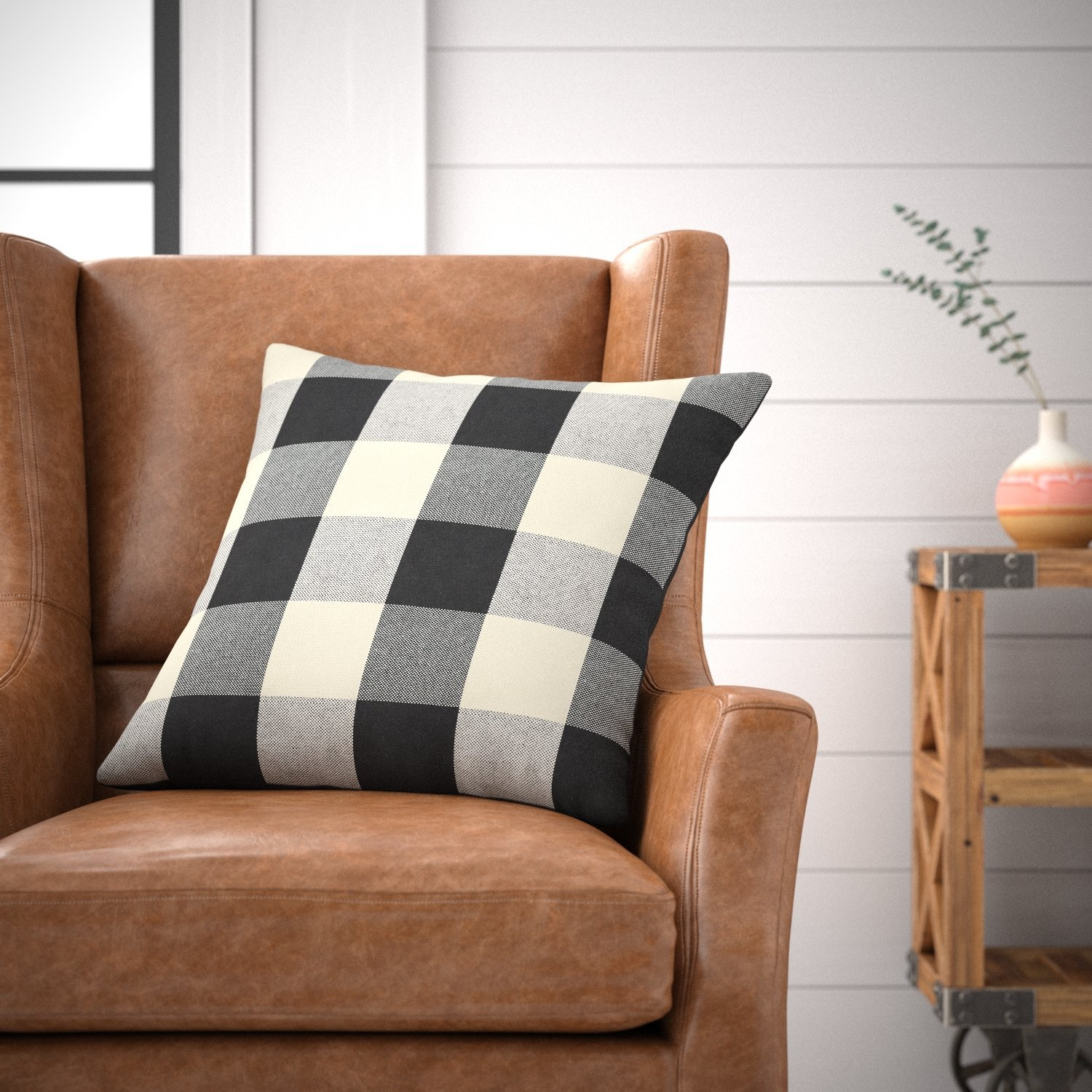 Black 20 x 20 0AITV 111136 Stone /& Beam Farmhouse Buffalo Check Plaid Throw Pillow 20 x 20 Cover Only
