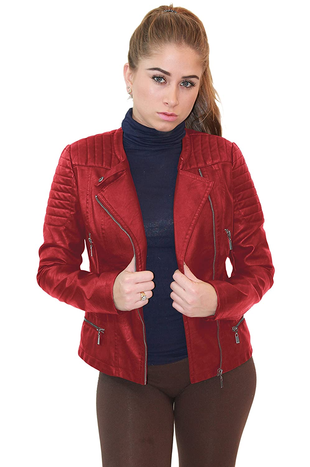 Olivia Miller Womens Faux Leather Moto Biker Jacket Pockets