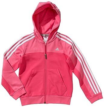 adidas Essentials - Sudadera con capucha para niña, con cremallera morado ultra pink s12/white Talla:128: Amazon.es: Deportes y aire libre