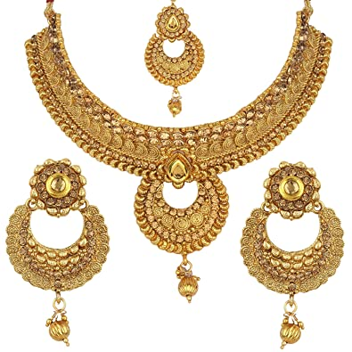6e39456be Buy Jewels Gold Fancy Simple Antique Golden Designer Necklace Set & Earring  With Maangtikka Set For Women & Girls Online at Low Prices in India |  Amazon ...