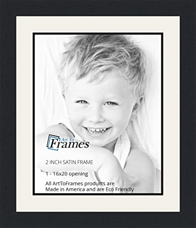 16x20 16 x 20 picture frame satin black 2 wide with