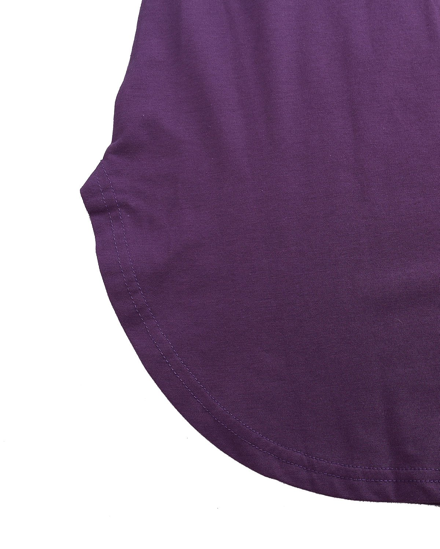 Stil kupol blus dam casual tunika långärmad tröja topp v-ringad lös långärmad toppar Lila