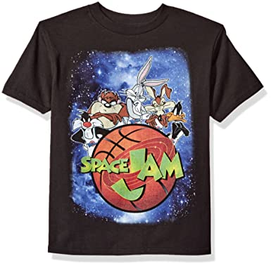 338aa0f40121 Amazon.com  Looney Tunes Boys  Space Jam Outer Space Short Sleeve T-Shirt   Clothing