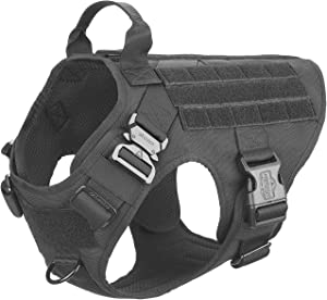 ICEFANG Tactical Dog Harness with 2X Metal Buckle,K9 Working Dog MOLLE Vest,No Pulling Front Clip Leash Attachment,Hook and Loop for Dog Custom Patch