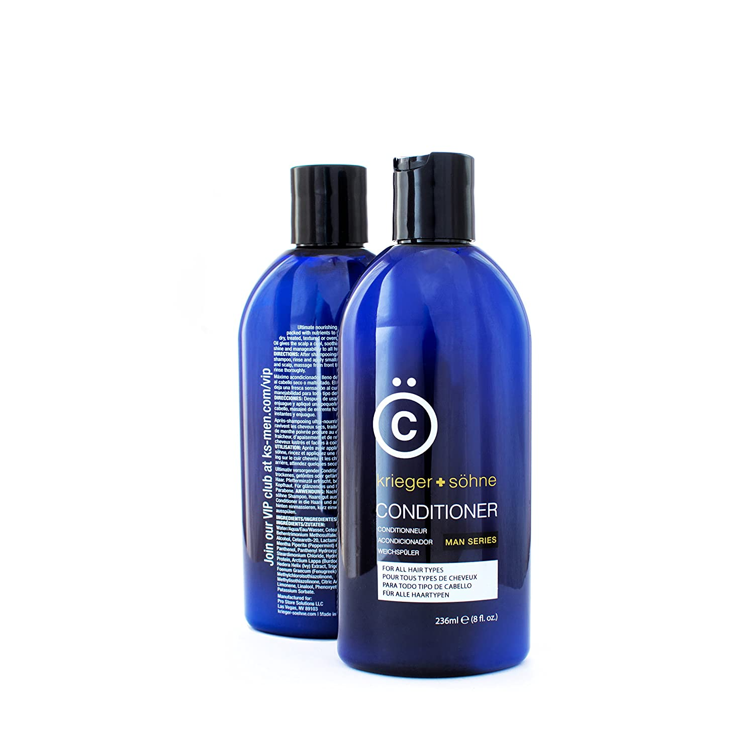K + S Men's Hair Conditioner - Stylist-Level Hair Care Products for Men - Infused with Peppermint Oil for Dandruff & Dry Scalp (8 oz Bottle)