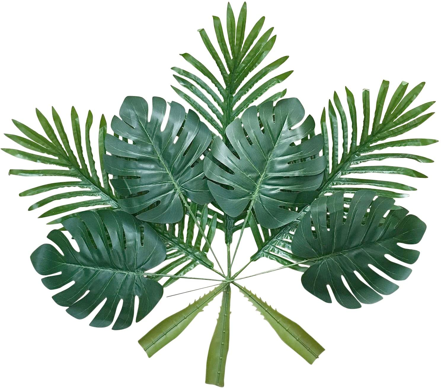 Amazon Com Artificial Palm Leaves With Stem 20 Pcs Tropical Philodendron Monstera Fronds Party Decorations Faux Palm Tree Plant Leaf Fake Imitation Ferns Branches Home Kitchen Plastic Decor Af49 Kitchen Dining