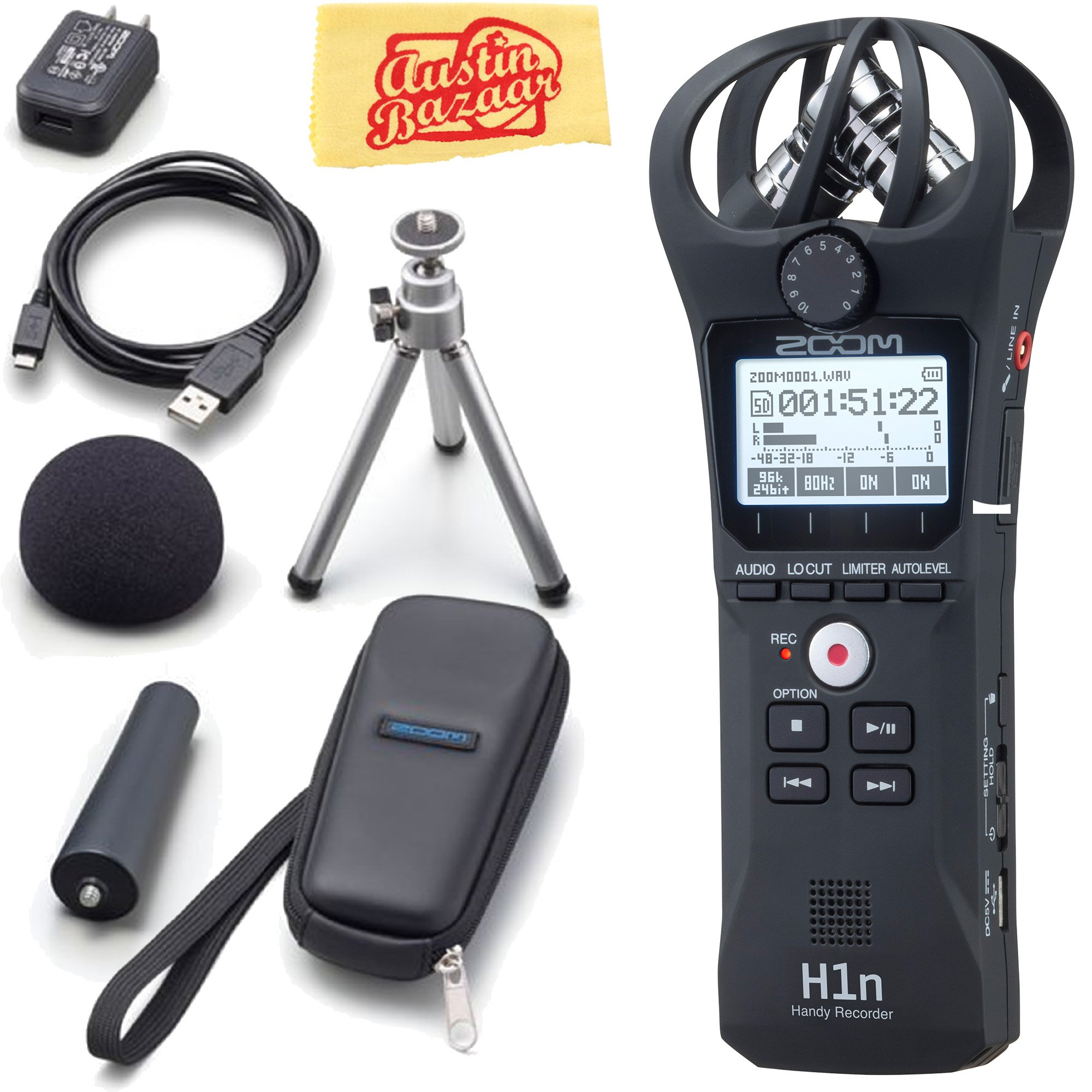 Zoom H1n Handy Recorder Bundle with Zoom APH-1N Accessory Pack and Austin Bazaar Polishing Cloth