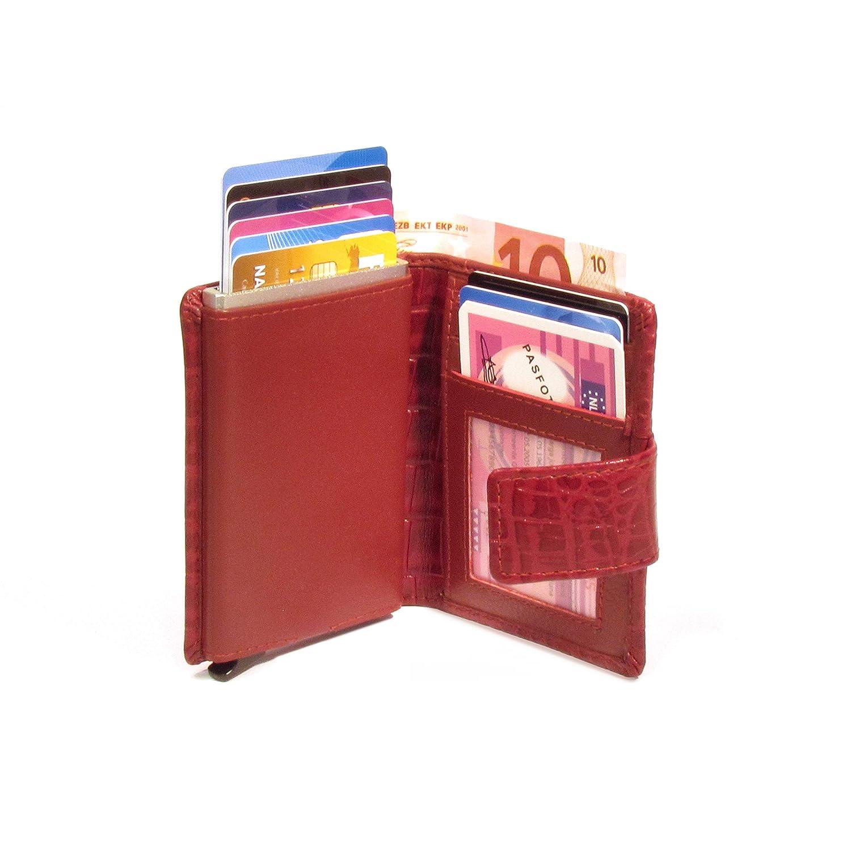 Geldb/örse Slim Wallet Portmonee RFID Schutz Croco Braun Figuretta Leder Kreditkartenetui mit Banknoten- und M/ünzfach
