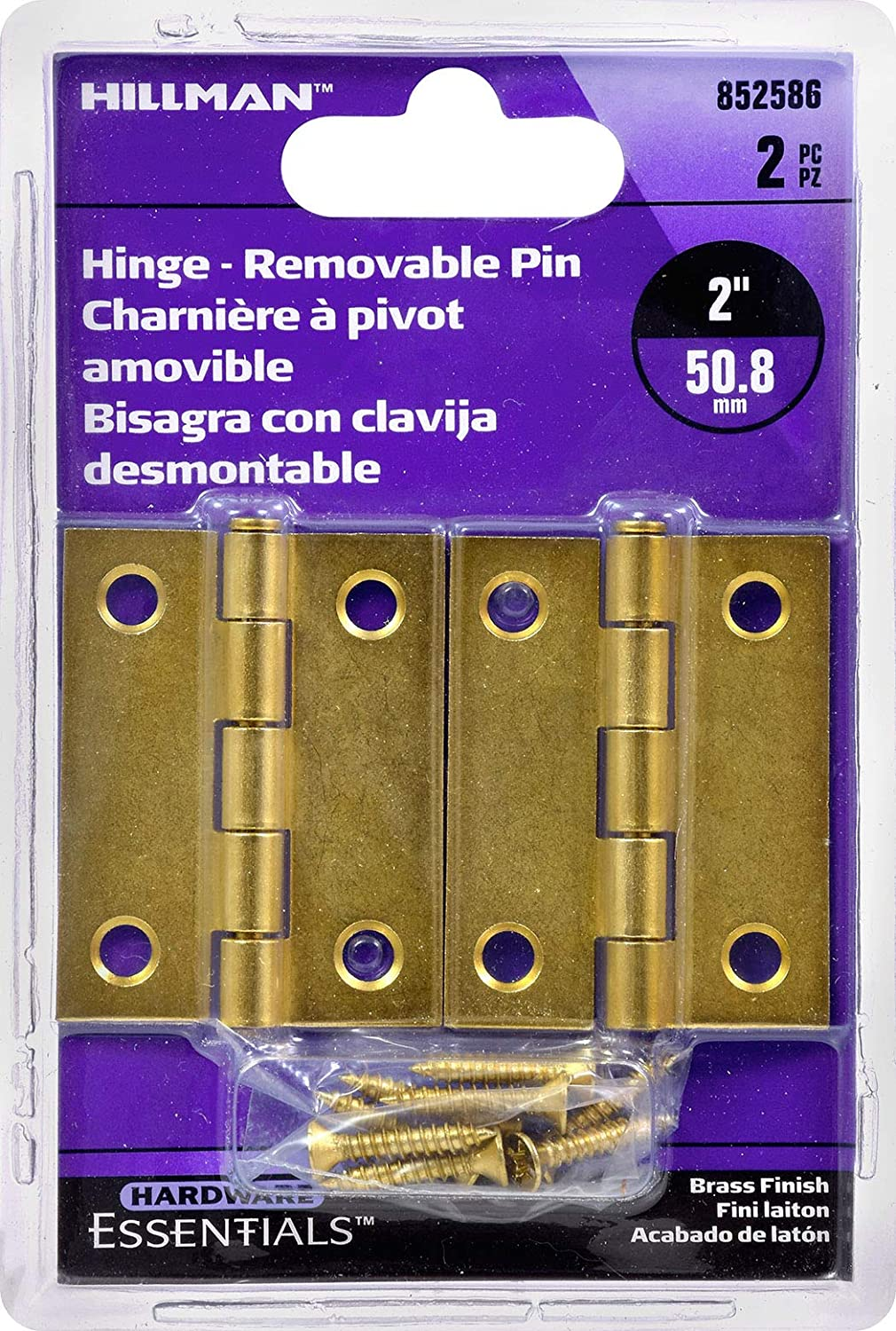 Hillman Hardware Essentials 852586 Light Narrow Door Hinges and Fixed Pin Brass 2-2 pack