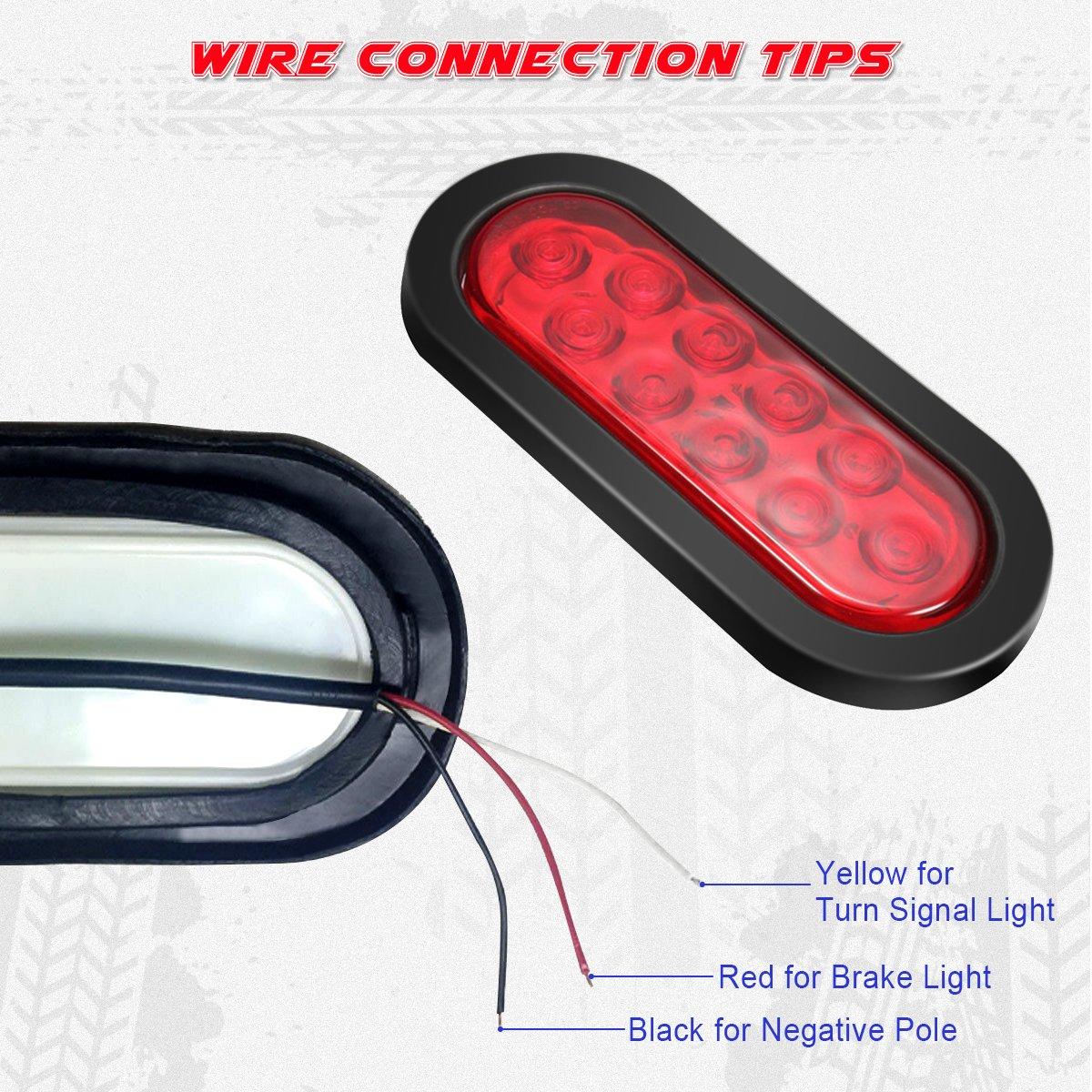 Audew 2Pcs 6-inch Oval LED Trailer Tail Lights Red Brakes//Marker Lights for Truck,Boat,Trailer,Bus,IP65 Waterproof,DC 12V