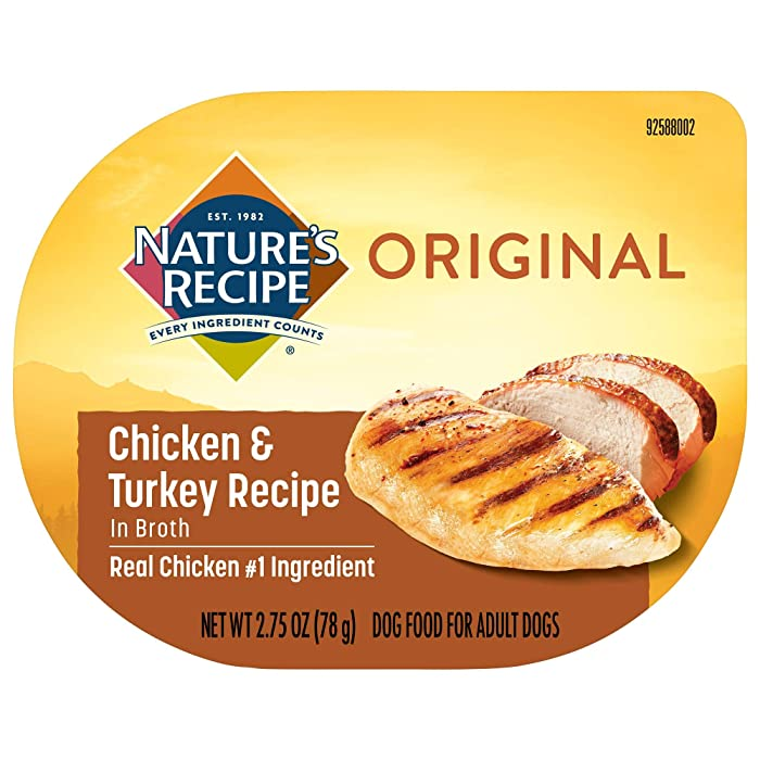 Nature's Recipe Wet Dog Food, Chicken & Turkey in Broth Recipe, 2.75 Ounce Cup (Pack of 12) (Packaging May Vary)