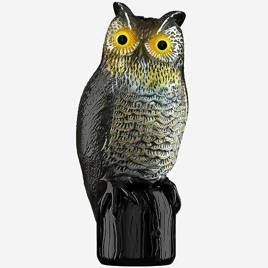 Hoont espantapájaros realista búho señuelo pájaro Plagas y repelente de roedores con parpadeante ojos + Aterrador sonido – activado por movimiento con sensores – Asusta Multidireccional, pájaros, ardillas, etc. [Upgraded]: Amazon.es: Jardín