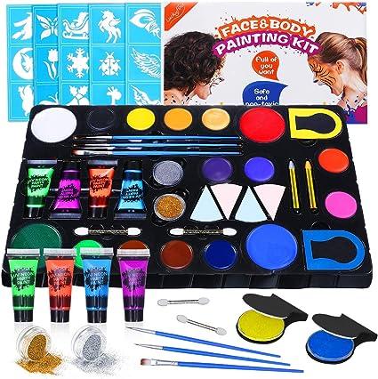Luckyfine Kit de Pinturas Faciales y Corporales - 16 x Pinturas Corporales, 4 x Pintura luminosa, 2 x Brillos, 2 x Tinte de Pelo - Seguro y No toxico ...