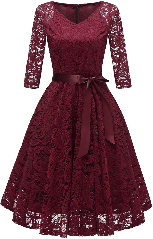 TALLA M. RAISEVERN Vestido de Encaje de Mujer Una línea 3/4 Fiesta de Noche de Manga Larga Vestido de Dama de Honor de la Boda Cóctel Ocasión Vestidos de Midi de oscilación con Cinta de la Cinta Wine Red