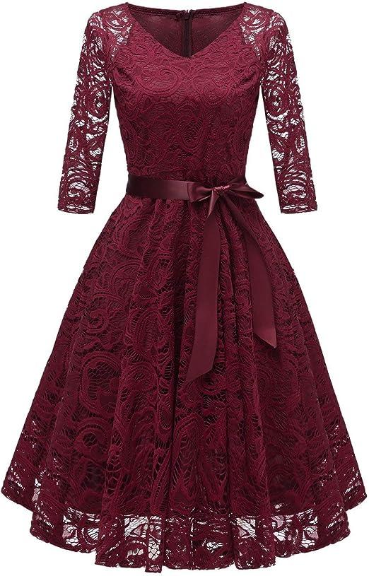 TALLA L. RAISEVERN Vestido de Encaje de Mujer Una línea 3/4 Fiesta de Noche de Manga Larga Vestido de Dama de Honor de la Boda Cóctel Ocasión Vestidos de Midi de oscilación con Cinta de la Cinta Wine Red