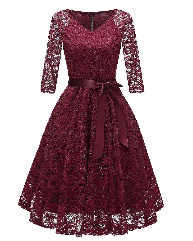 TALLA S. RAISEVERN Vestido de Encaje de Mujer Una línea 3/4 Fiesta de Noche de Manga Larga Vestido de Dama de Honor de la Boda Cóctel Ocasión Vestidos de Midi de oscilación con Cinta de la Cinta Wine Red