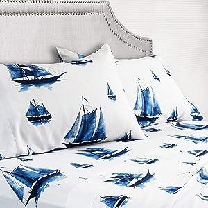 DriftAway Harbor Sailboat Ocean Printed Pattern Extra Soft Bed Sheet Set Navy 4 Piece King Set