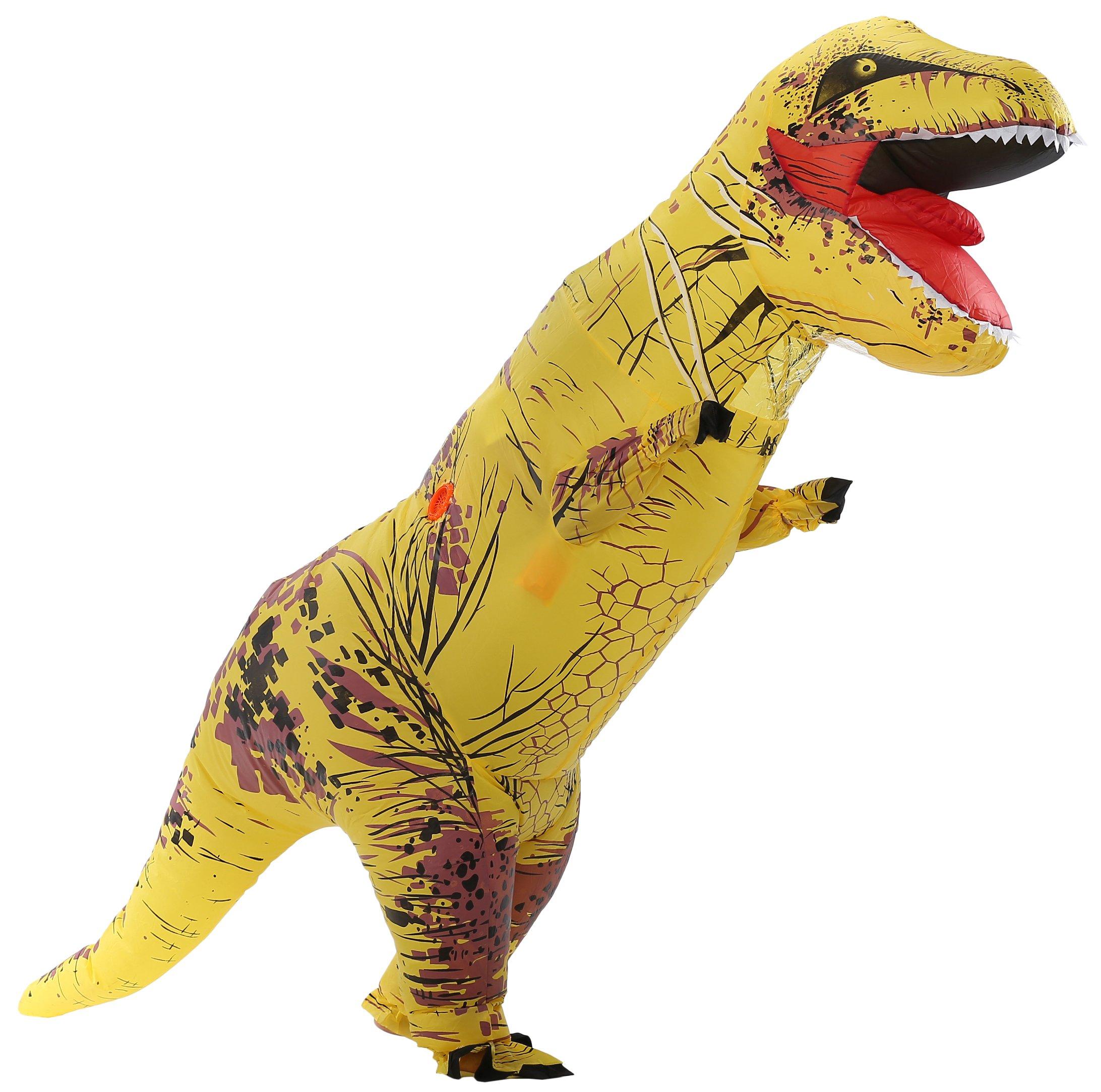 caringgarden Unisex Jurassic T-Rex Inflatable Costume Dinosaur Fancy Dress Yellow Adult Size