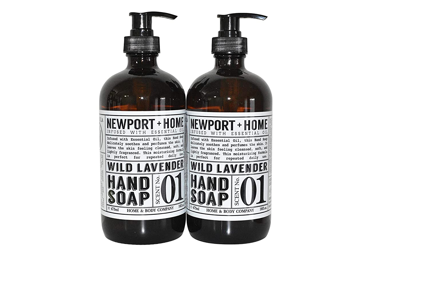 Newport Home and Body Co Hand Soap, Wild Lavender, 2 Glass Bottles 16 fl oz each