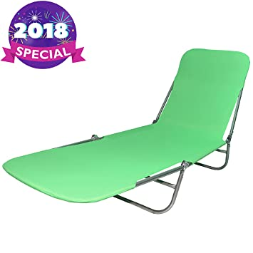 Folding Lounge Chaise, Beach Bed Lounger For Lawn, Pool Side, Patio And  Camping