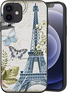 Wozukia Eiffel Tower Case Compatible with iPhone 12 and iPhone 12 Pro 6.1 Inch Street Lamp Butterfly Car Decor France Paris Vintage Pink Blue White Soft Flexible TPU Shockproof Screen Protector Cover