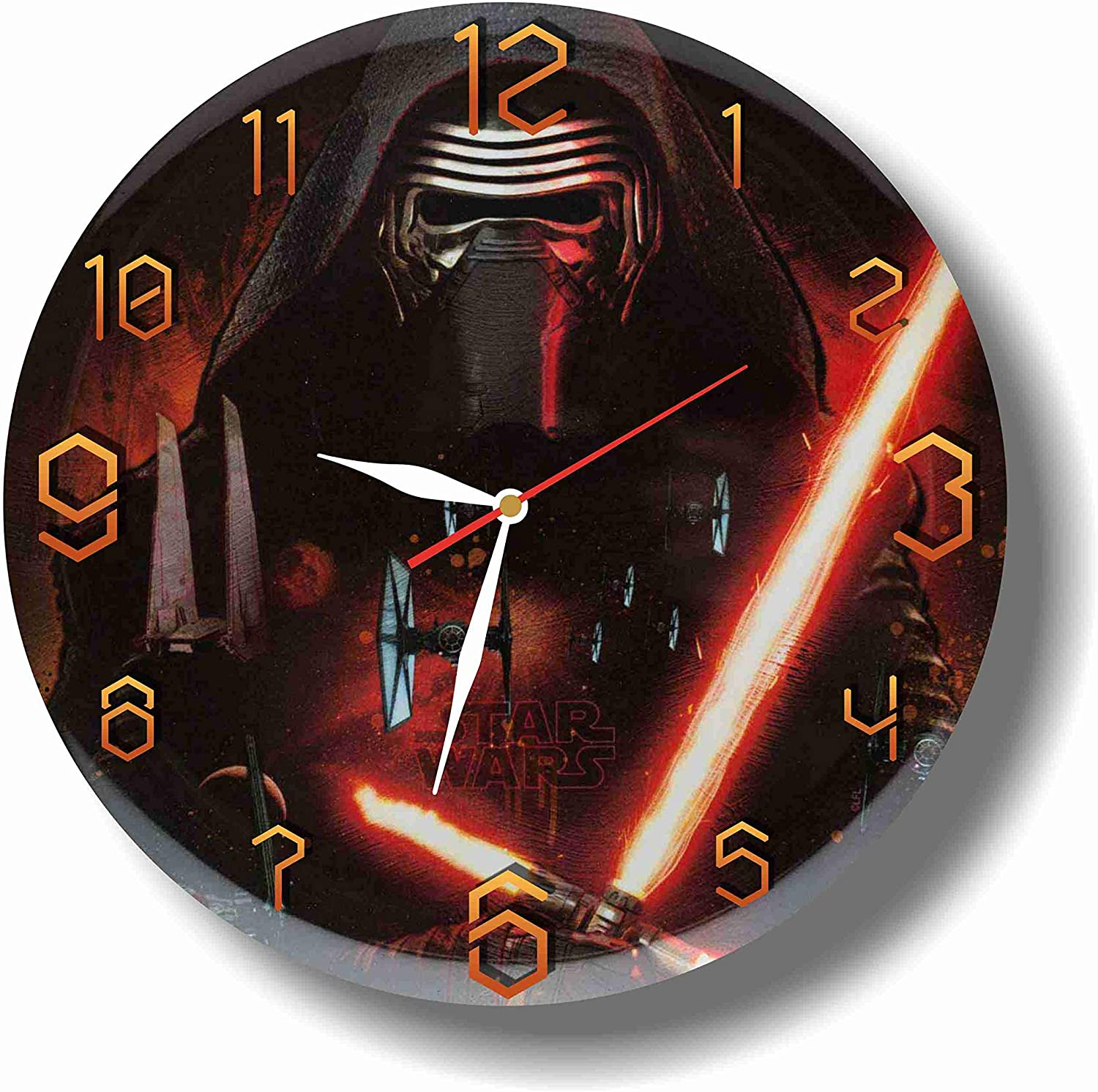 Star Wars - Kylo Ren 11.8'' Handmade Wall Clock - Get Unique décor for Home or Office – Best Gift Ideas for Kids, Friends, Parents and Your Soul Mates