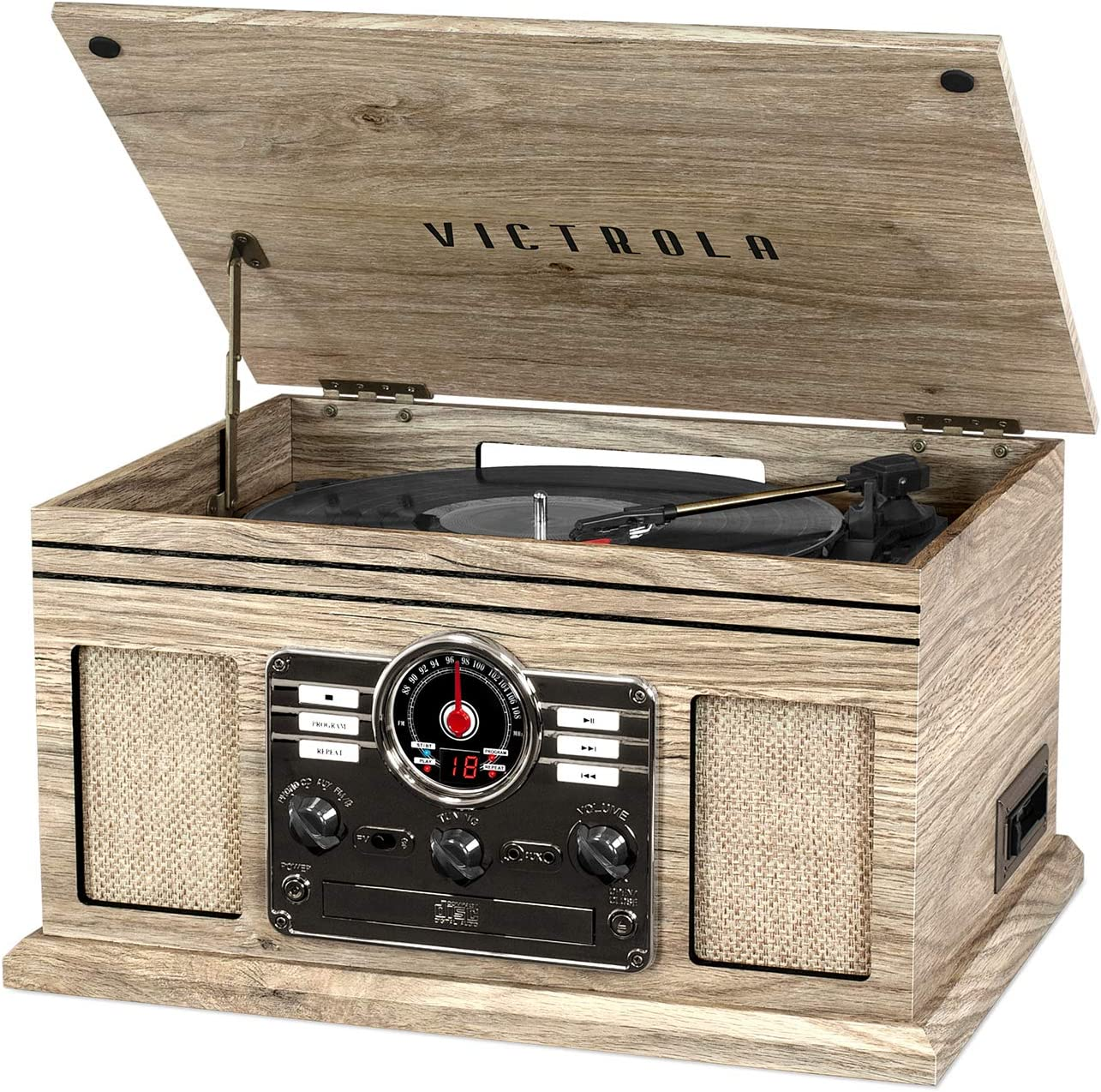 Victrola Nostalgic 6-in-1 Bluetooth Record Player & Multimedia Center with Built-in Speakers - 3-Speed Turntable, CD & Cassette Player, AM/FM Radio | Wireless Music Streaming | Farmhouse Oatmeal