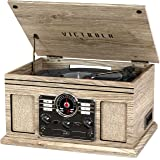 Victrola Nostalgic 6-in-1 Bluetooth Record Player & Multimedia Center with Built-in Speakers - 3-Speed Turntable, CD…