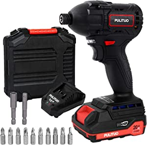 PULITUO 20 V Impact Driver, Impact Electric Screwdriver, Including 2.0Ah Batteries and Charger, 2 Variable Speed (2.0Ah battery)