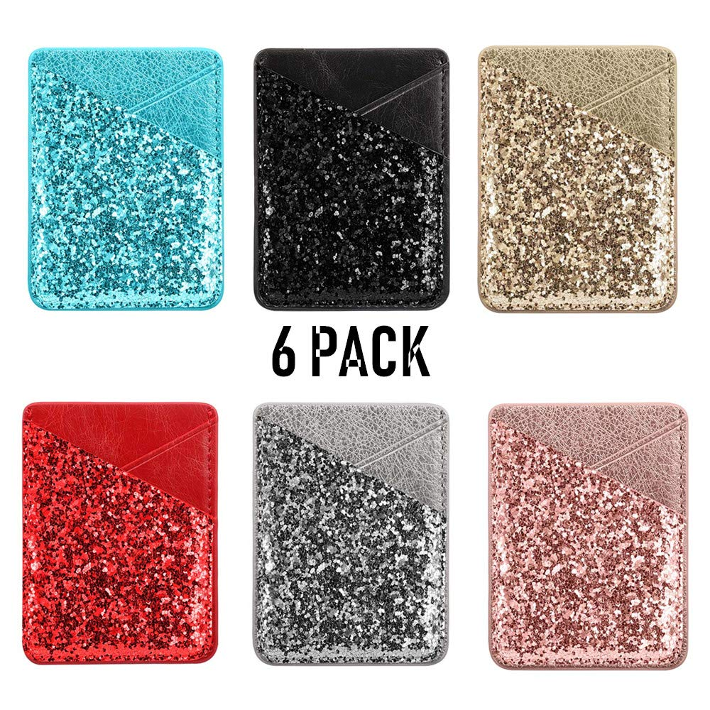 Phone Card Holder, DECVO Case-Mate PU Leather Bling Glitter Phone Card Id Cash Credit Wallet Holder Removable Adhesive Stick-on Compatible with iPhone Samsung Galaxy Android Smartphones (6 Packs)