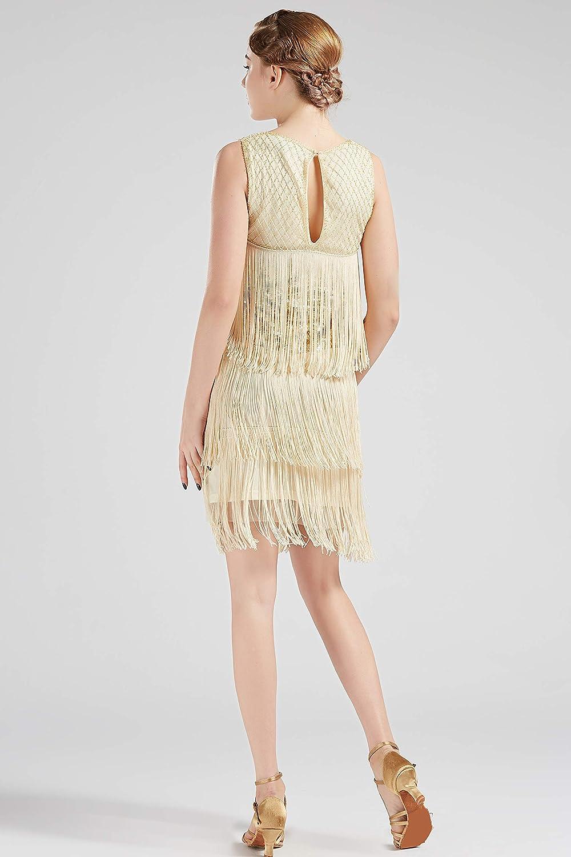 ArtiDeco 1920s Flapper Fringed Sequin Dress Roaring 20s Fancy Dress Gatsby Costume Dress Vintage Beaded Evening Dress
