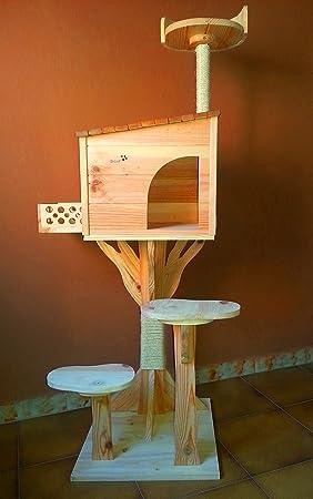 Arbol rascador para gatos con casa de madera artesanal nueva. 154cm Altura: Amazon.es: Hogar