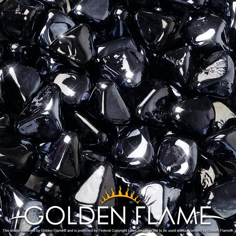 Golden Flame 10-Pound Fire Glass 1-Inch Onyx Black Reflective Fire-Diamonds