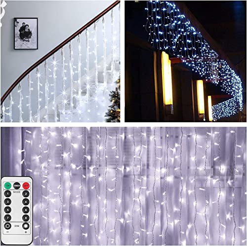 Curtain Icicle Lights,Battery Powered,13ft L x 3.3ft H ,200 LED Fairy String Lights with 8 Modes Remote Timer,Backdrop Decorative Lights Wedding Christmas Holiday Party Home Decoration – Cool White