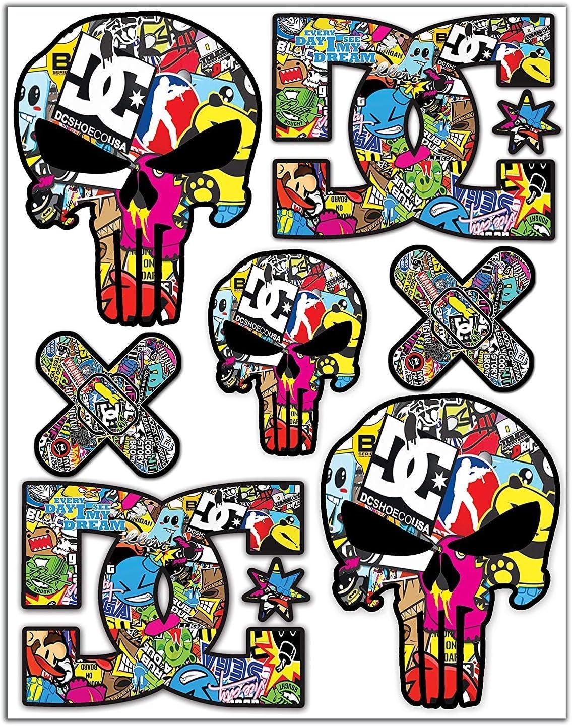 7 Sticker Set Vinyl Skull Stickerbomb DC Bomb Decal Punisher Car Motorcycle Bike D 15