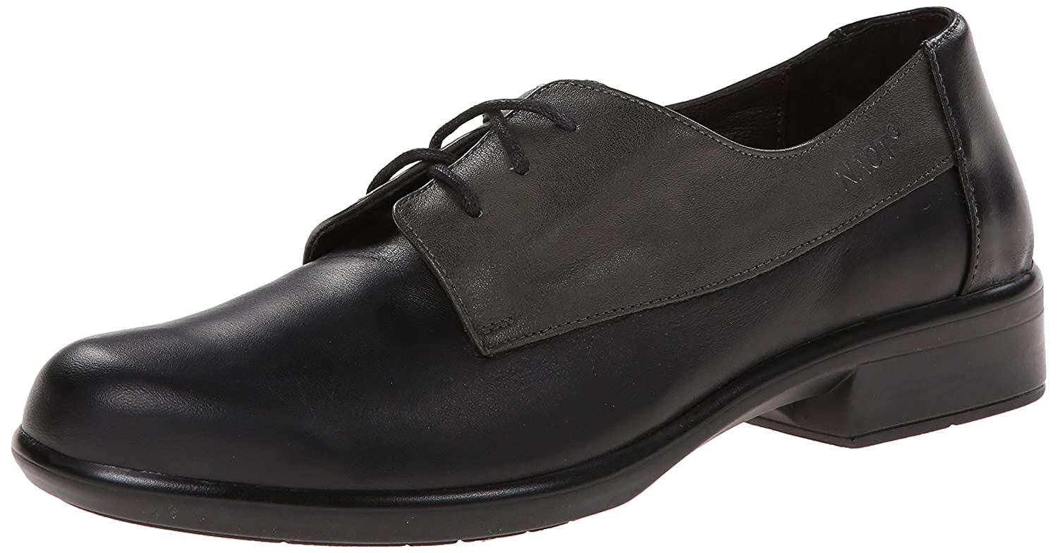 NAOT Women's Kedma Oxford B0072KY1TC 38 EU (7-7.5 B(M) US Women)|Jet Black Leather/Tin Gray Leather