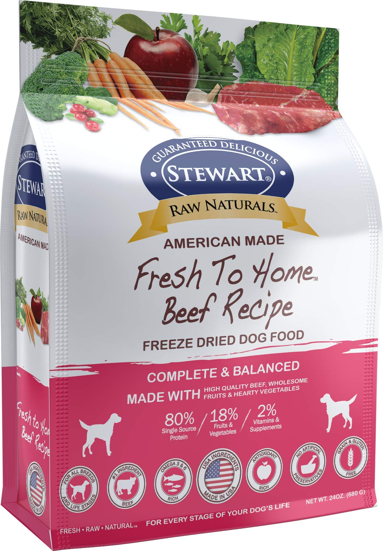 Stewart Raw Naturals Freeze Dried Dog Food Grain Free Made in USA with Beef, Fruits, & Vegetables for Fresh To Home All Natural Recipe, 24 oz. by Stewart