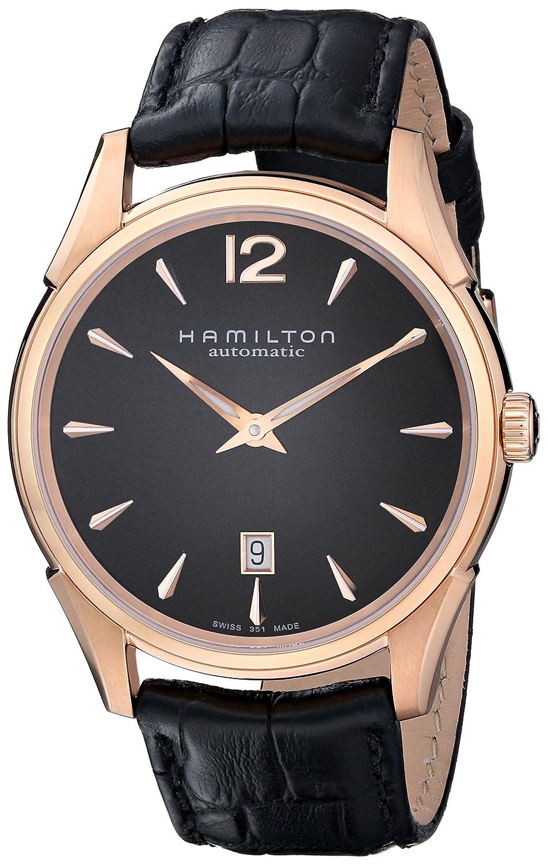 [ハミルトン]HAMILTON 腕時計 AMERICAN CLASSIC JAZZMASTER SLIM 43mm ブラックダイヤル カーフ H38645735 メンズ [正規輸入品] B002C1B3F6