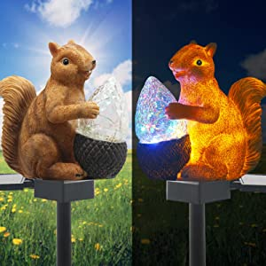 Upgraded Solar Garden Lights Outdoor Decor, Solar Squirrel Stake Lights Colorful LED, IP65 Waterproof Squirrel Decorative Lights, for Yard Patio Garden Lawn Decoration