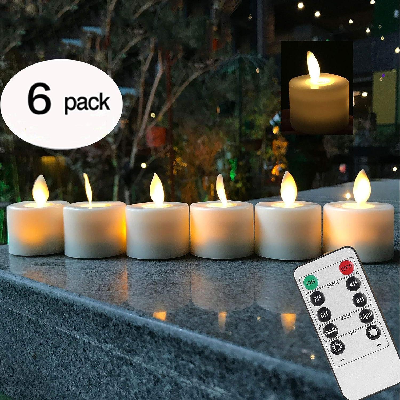 VVMOM リモートコントロール LEDティーライト フェイクフレームレスキャンドル タイマー付き 電池式 温白色 ウィンドウピラーキャンドル 揺らめく揺らめく電球付き クリスマス/ウェディング/誕生日パーティー用 6個パック   B07MW37TCB