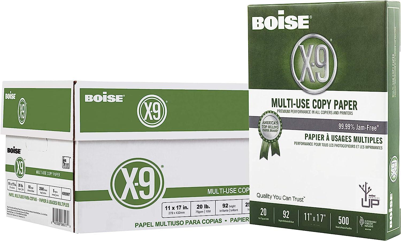 """Boise X-9 Multi-Use Copy Paper, 11"""" x 17"""" Ledger, 92 Bright White, 20 lb, 5 Ream Carton (2,500 Sheets)"""