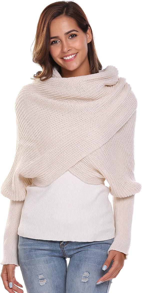 Women Crochet Knit Blanket Long Shawl Winter Warm Large Scarf Scarves Coat at Amazon Women's Clothing store
