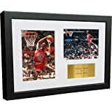 "A4 Signed Michael Jordan Chicago Bulls""Famous Foul Line Dunk 1988"" Autographed Basketball Photo Photograph Picture Frame Gift"