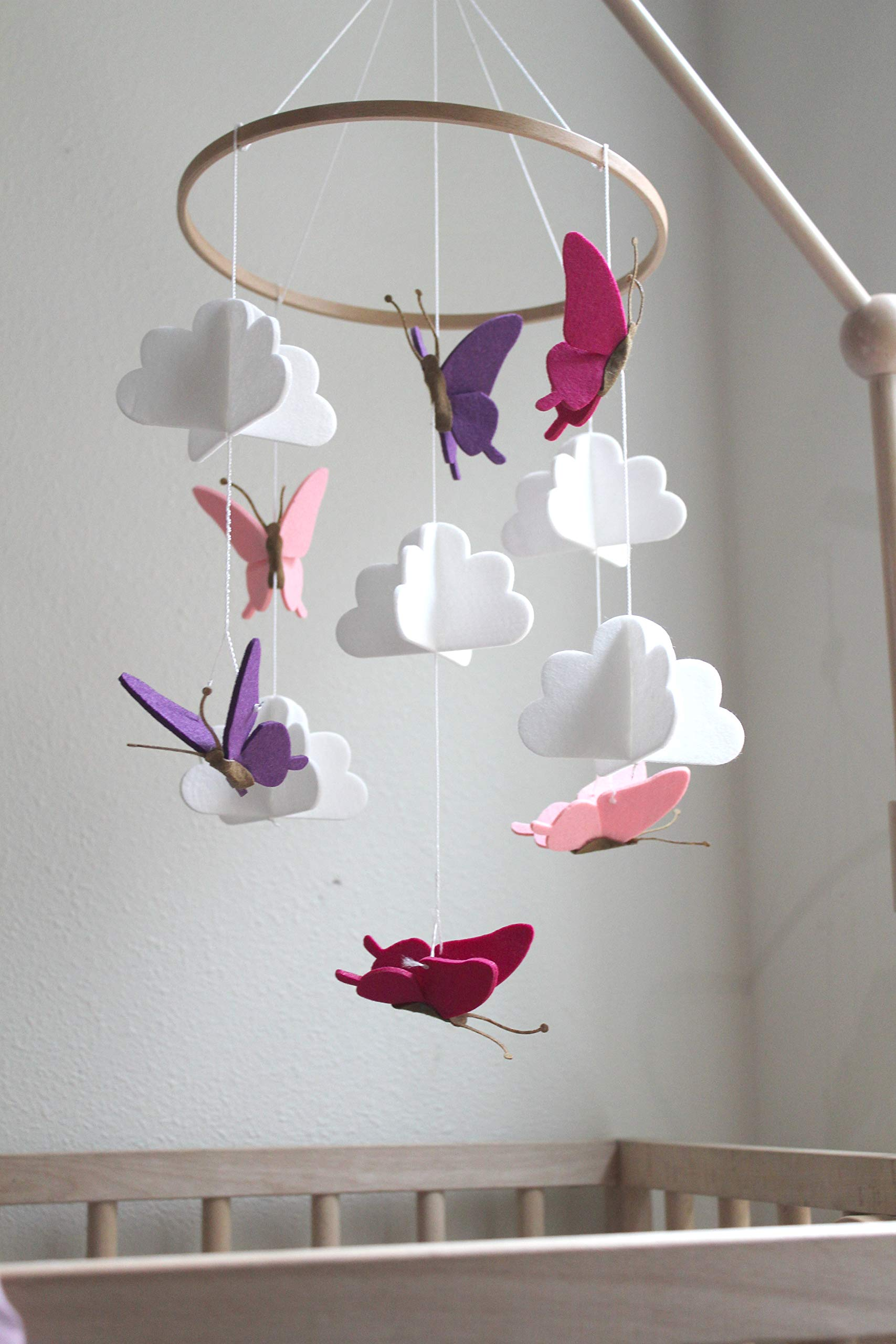 Baby Crib Mobile by Sorrel + Fern- Butterflies in The Clouds Nursery Decoration | Crib Mobile