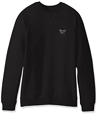 Brixton Men's Wheeler Crew Fleece, Washed Black/Red, X-Small